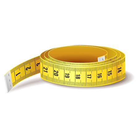 Icono de cinta métrica amarilla aislado sobre fondo blanco. Ilustración de vector