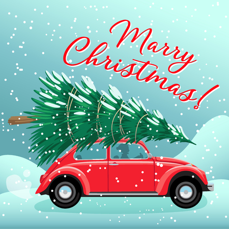 Merry Christmas and Happy New Year Postcard or Poster or Flyer template with red retro car christmas tree on roof. Vintage styled vector illustration.