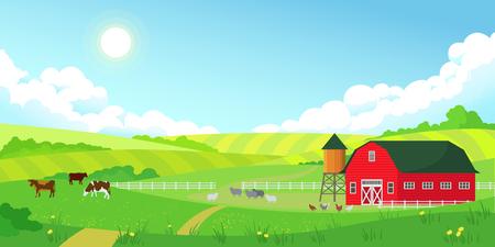 Colorido paisaje de verano de la granja, cielo azul claro con sol, granero rojo, rebaño de vacas, agricultura, ilustración vectorial de estilo plano