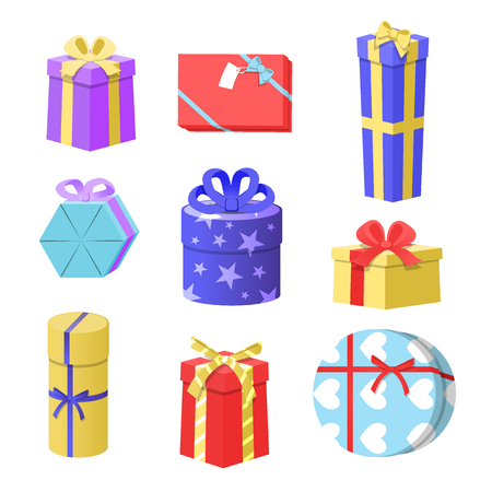 Vector Illustration of Gift Boxes, christmas gift boxes set Vettoriali