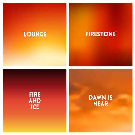 Abstract vector red blurred background set. Square blurred red backgrounds set - red sky sunset clouds beach colors With love quotes Vektorové ilustrace