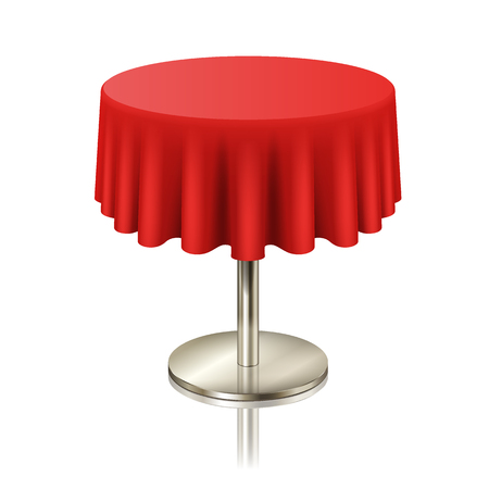 Round red clean table, restaurant round table with red tablecloth isolated. furniture for cafe or public place interior, vector illustration Vektoros illusztráció