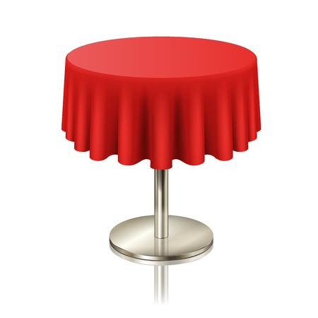Table ronde propre rouge, table ronde de restaurant avec nappe rouge isolée. mobilier pour café ou intérieur de lieu public, illustration vectorielle Vecteurs