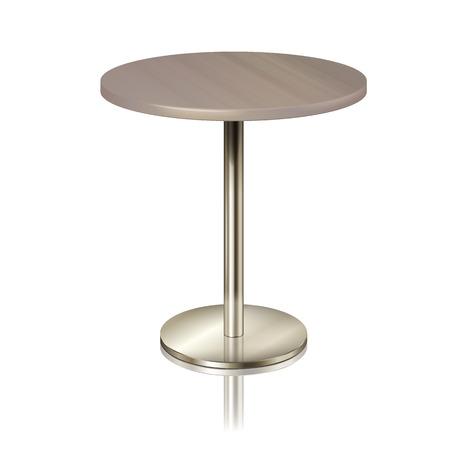 Ronde tafel op een verchroomd metalen onderstel, zonder tafelkleed. Meubilair voor een restaurant, café, diner en tentoonstelling geïsoleerd. meubels voor het interieur van een openbare ruimte, vectorillustratie