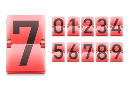 Set of numbers, black digits on red in mechanical scoreboard style, realistic template, vector illustration Illustration