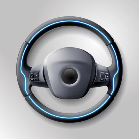 Gouvernail de voiture cher avec boutons et tressage en cuir Barre réaliste technologique, pièce automobile, volant intelligent de voiture de course. Illustration vectorielle.
