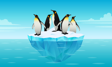 Flock of emperor penguins on ice floe in cold water. Glacier, ice brick floating in cold sea. Tallest and heaviest penguin species. Antarctic landscapes. Vector illustration in flat style. Ilustrace