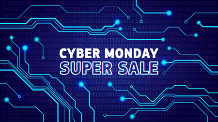 Cyber monday sale poster, bunner, invitation with electrical pulses. Online sale advertisign design, announcement. Vector illustration.