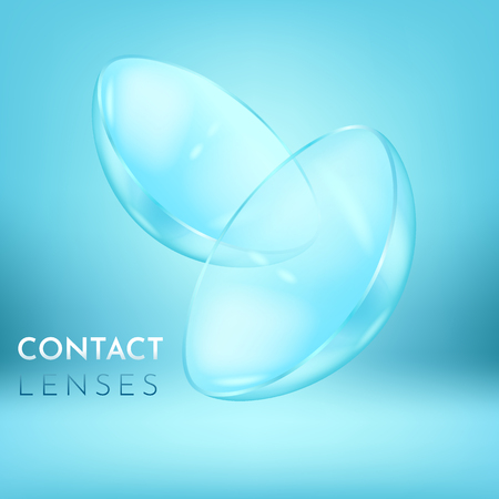 Close view on pair of eye contact lenses, clear and close up, realistic medical equipment to correct poor vision, with text, vector illustration