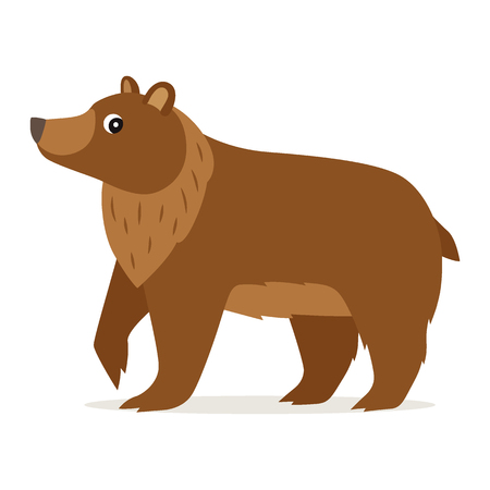 Icon of funny cute brown bear in profile isolated, forest, woodland animal, vector illustration for children book or decoration