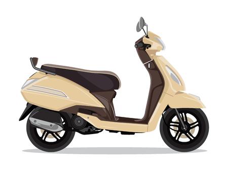 Vector beige moderne scooter, vlakke stijl zijaanzicht. Bromfiets voor bezorging, scooter voor toerisme. Economisch en ecologisch stadsvervoer. Vector illustratie. Vector Illustratie
