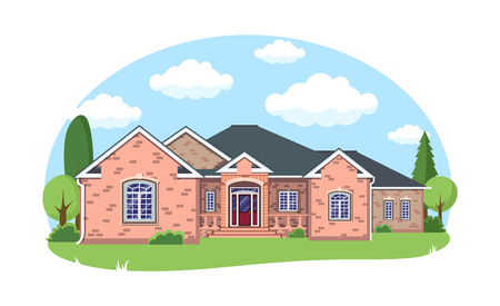 Cartoon house exterior with blue clouded sky Front Home Architecture Concept Flat Design Style. Vector illustration of Facade Building.