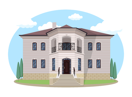 Large house villa in flat style House exterior with blue clouded sky Front Home Architecture Concept Flat Design Style. Vector illustration of Facade Building.