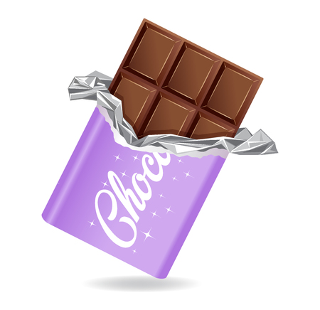 Chocolate bar in opened purple wrapped and foil isolated on white background, dessert, vector illustration in flat style