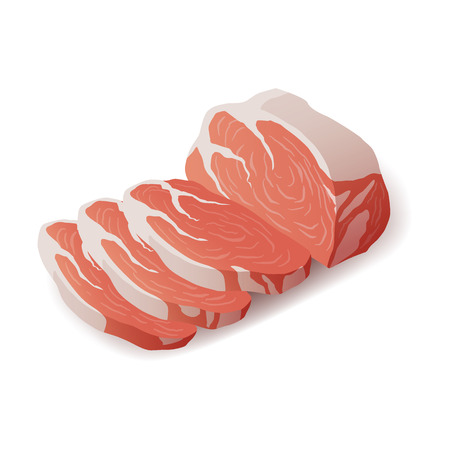 Raw fresh meat - marble beef steak vector isolated on white. Fresh meat icon.