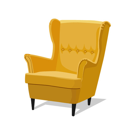 Modern colorful soft armchair with upholstery. Armchairs for room design games. Cushioned furniture, room decoration, interior design isolated on white. Vector illustration flat style. Vettoriali