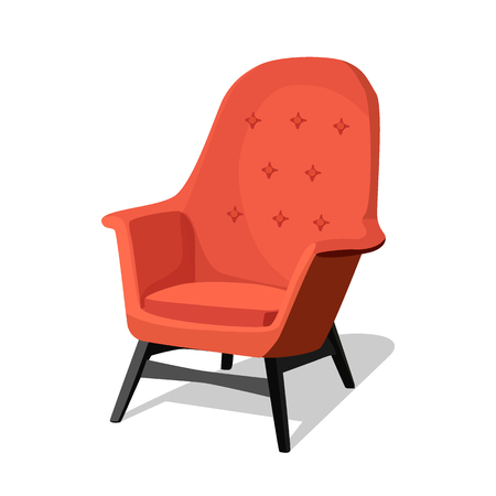 Moderne kleurrijke zachte fauteuil met bekleding. Fauteuils voor kamerontwerpspellen. Meubilair met kussens, kamerdecoratie, interieur geïsoleerd op wit. Vector illustratie vlakke stijl. Vector Illustratie