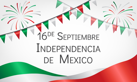 Announcement about day of independence of Mexico with flags. Greeting card with holiday, fireworks and festive flags. Vector illustration. Иллюстрация