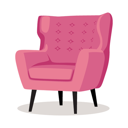 Modern colorful soft armchair with upholstery. Armchairs for room design games. Cushioned furniture, room decoration, interior design isolated on white. Vector illustration flat style.