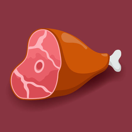 Meat vector - gammon. Fresh flat meat icon Illustration