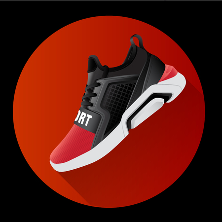 fitness sneakers shoes for training running shoe flat design with long shadow. Fitness app Stock Illustratie