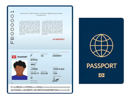 Opened international passport template with blue cover