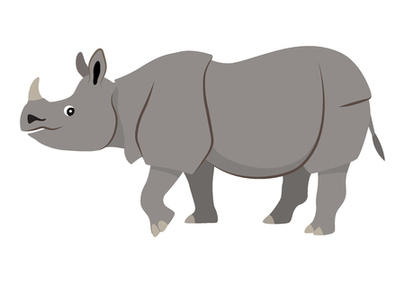 Nettes wildes Tier mit Horn auf der Nase, graues gehendes Nashornsymbol, Vektorillustration lokalisiert auf weißem Hintergrund Vektorgrafik