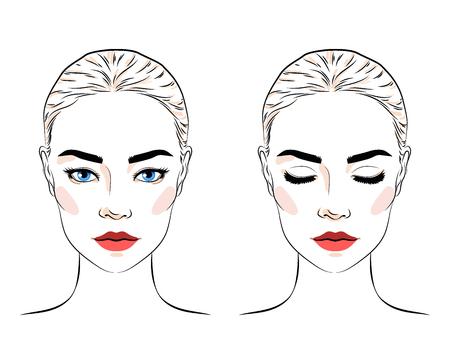 Satz schöne Frau mit Brötchenfrisur und elegantem Make-up, attraktives Mädchen mit blauen Augen, Maskenbildner-Bloglogo, Linienskizzenartvektorillustration lokalisiert auf weißem Hintergrund