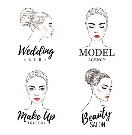 Ensemble de logo de belle femme, logo d'académie de modèle, salon de mariage de beauté, conception de bannière ou d'affiche