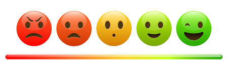 Mood meter, scale, from red angry face to happy green emoji, colorful banner for social network or mobile apps, vector illustration isolated