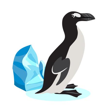 Cute great auk icon, black polar bird isolated on white background, extinct species, vector illustration Ilustração