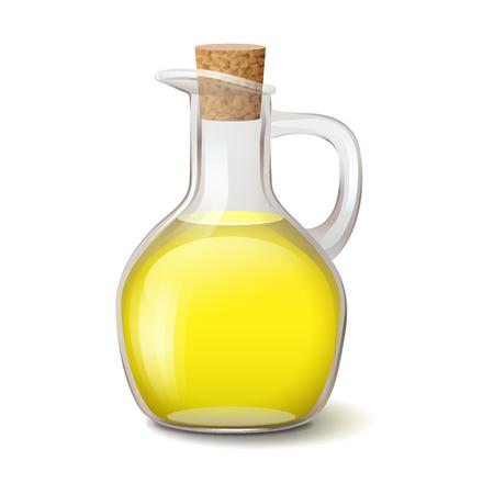 Botella de vidrio realista con aceite vegetal de color amarillo brillante y tapón de madera, ilustración vectorial aislado sobre fondo blanco.