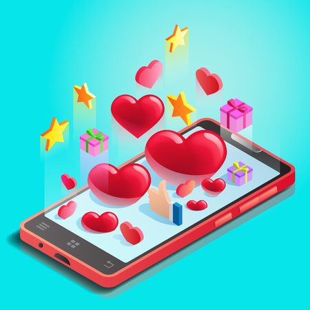 Abstraction, mobile phone with hearts, online dating, likes and gifts in social networks, Valentines Day celebration, chatting with l beloved, vector illustration