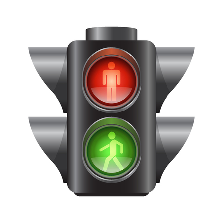 Realistic traffic lights for pedestrians, red and green signal, vector illustration isolated on white background Vector Illustration