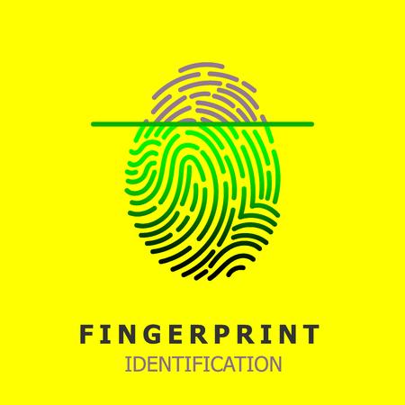 Editable Vector line Fingerprint Scan Icon - fingerprint identification symbol for security system. human individual biometrics verification