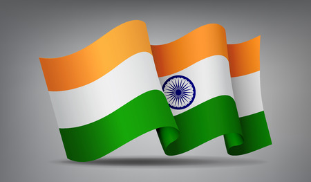 India waving flag icon isolated, official symbol of country, orange, white and green stripes, vector illustration