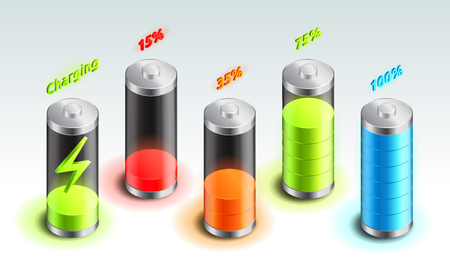Set of battery charge isometric icon, accumulator indicator, from full charge to discharged, isometric battery vector illustration.