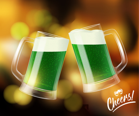 Two mugs with green beer with white foam on bokeh bar background, clinking glasses, Cheers logo. St. Patrick day symbol, vector illustration
