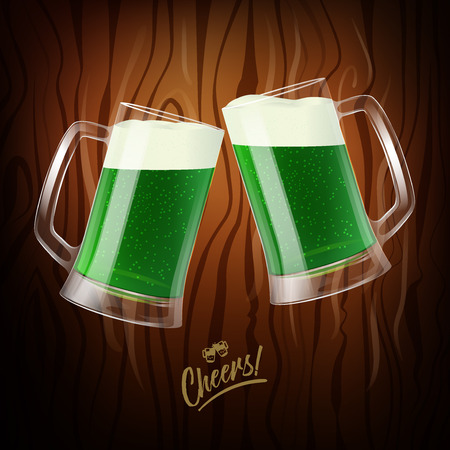 Two mugs with green beer with white foam on dark wood background, clinking glasses, Cheers logo. St. Patrick day symbol, vector illustration