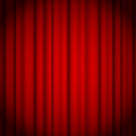 Red curtains background illuminated by a beam of spotlight. Red theater show curtain vector illustration.