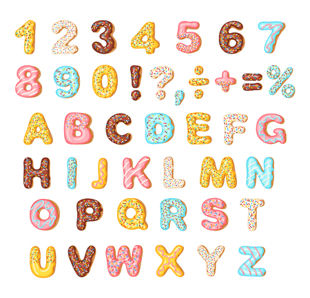 Cookies with colorful glaze set, alphabet and numbers Illustration