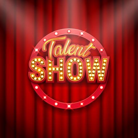 Bannière de spectacle de talents, affiche, inscription dorée sur rideau rouge