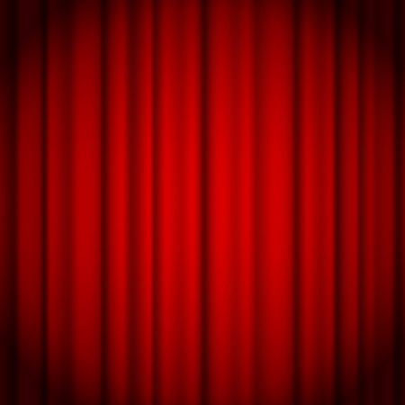 Red curtains background illuminated by a beam of spotlight. Vector illustration Illustration
