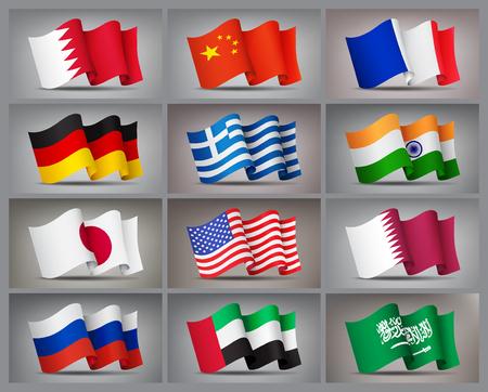 Set of waving flags icons isolated, official symbols of countrys. Qatar, Bahrain, China, Russia, Greece, United Arab Emirates, Germany, India, Japan, France USA and Saudi Arabia flags Vector Vektoros illusztráció