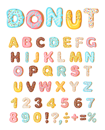 Donut icing latters, font of donuts. Bakery sweet alphabet. Letters and numbers with pink, yellow, blue donut. Donut alphabet and numbers, isolated on white background, vector illustration 版權商用圖片 - 118663087