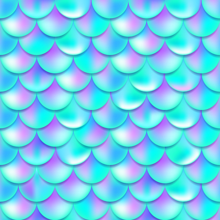 Pearl purple and blue mermaid scales seamless pattern, print, texture, beautiful background with gradient, magic creature, fish skin, vector illustration
