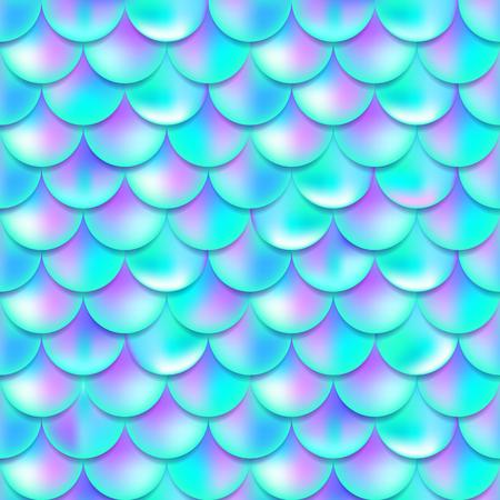 Perle lila und blaue Meerjungfrau skaliert nahtloses Muster, Druck, Textur, schöner Hintergrund mit Farbverlauf, magische Kreatur, Fischhaut, Vektorillustration