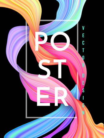 Modern colorful flow poster. Wave Liquid shape on dark background. Art design for your project. Vector illustration.