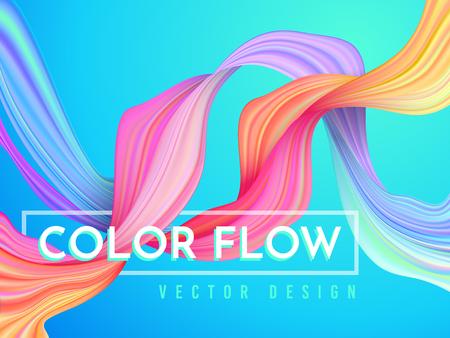 Modern color flow poster. Wave Liquid shape on light blue color background. Art design for your project. Vector illustration.