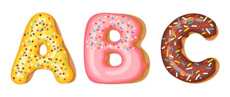 Ciambelle superiori di glassa - A, B, C. Font di ciambelle. Alfabeto dolce da forno. Alfabeto ciambella ultimi A b C isolato su sfondo bianco, illustrazione vettoriale